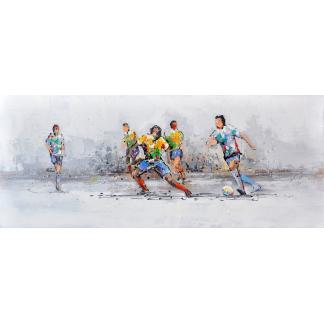 Voetbal wedstrijd - Canvas schilderij - Olieverf