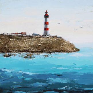 Vuurtoren aan Zee - Canvas schilderij - Olieverf