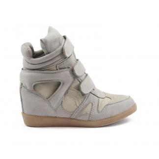 Wedge Sneakers - met verborgen sleehak - lichtgrijs