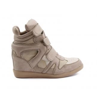 Wedge Sneakers - met verborgen sleehak - Khaki
