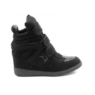 Wedge Sneakers - met verborgen sleehak - zwart