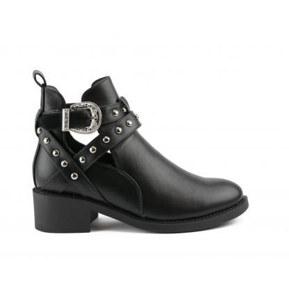 Western Cut Out Boots, Zwart