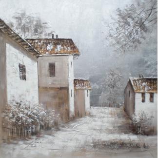 Winterdorp - Canvas schilderij - Olieverf