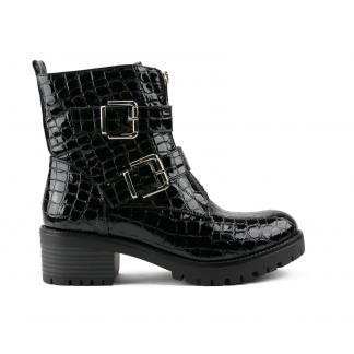 Zwarte Lak Buckle Boots met Croco Print - SP74