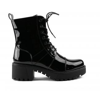 Zwarte Lak Laarzen Met Hak