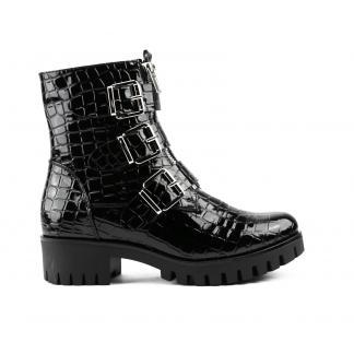 Zwarte Lak Triple Buckle Boots Croco